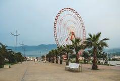 BATUMI, GEÓRGIA 29 DE MAIO DE 2015 Parque de beira-mar Ferris Wheel Imagens de Stock