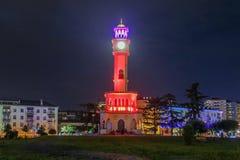 BATUMI, 2 Georgië-JULI de Fontein van 2015 met Chacha in Batumi-toren, door groen park, op 25 Mei in Batumi wordt omringd die Royalty-vrije Stock Foto