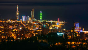 Batumi, Georgia. Aerial view of city center at night Stock Photography