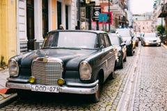 Batumi Georgia. Black Rarity Retro Mercedes Benz Car Parked Stock Images
