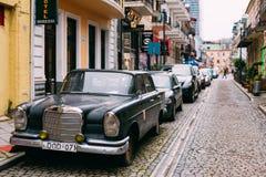 Batumi Georgia. Black Rarity Retro Mercedes Benz Car Parked Royalty Free Stock Images