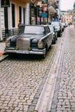 Batumi Georgia. Black Rarity Retro Mercedes Benz Car At Parking Stock Photos