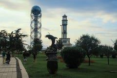 Black Sea Coast with a famous design depicting the Georgian alphabet. Batumi, Georgia - July 21, 2014: Black Sea Coast with a famous design depicting the stock image