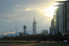The main skyscrapers of the city: the University of Technology and the Alphabet art object. Batumi, Georgia - July 21, 2014: The main skyscrapers of the city royalty free stock photo