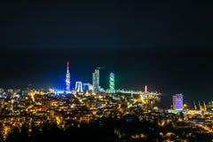 BATUMI, GEORGIA-JULY 5 2015 Panoramic view of the night Batumi royalty free stock photography