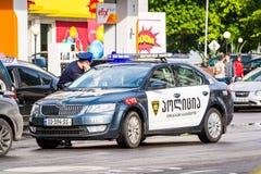 Batumi, Georgia - May 7, 2017. Georgian police on street with Skoda automobile stock image