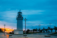 Batumi Georgia. Old Lighthouse, White Stone Construction, Miracle Park Stock Photos