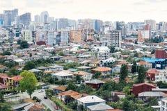 Batumi georgia Panorama av staden på den gamla och nya moderna Batumien Hus lägenheter, hyra, konstruktion royaltyfri bild
