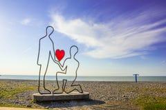 Batumi, Georgia. Sculpture at black sea shore in Batumi, Georgia stock photo