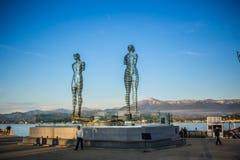 Batumi, Georgia. The statue of Love at Black sea shore at sunset in Batumi, Georgia Stock Photo
