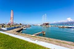 31 03 2018 Batumi, Gruzja - statki w małym porcie Batumi Zdjęcie Stock