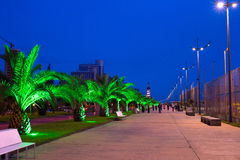 Batumi quayside at night, Georgia Stock Image