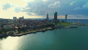 Batumi`s coastline from aerial view. View on the coastline of Batumi with modern architecture aerial view 4k shot stock footage