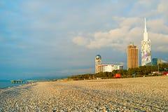 Batumi strand, Georgia royaltyfri foto