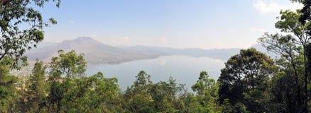 Batur火山,巴厘岛,印度尼西亚全景  免版税库存照片