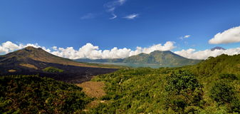Batur, Abang and Agung volcanos landscape Royalty Free Stock Photo