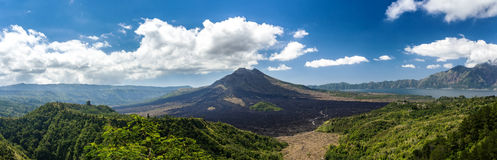 Batur volcano and Agung mountain, Bali Royalty Free Stock Photos