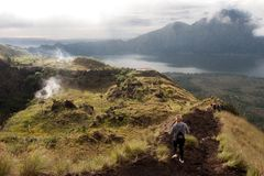 Batur volcano and Agung mountain panoramic view at sunrise from Kintamani. Bali, Indonesia Royalty Free Stock Image