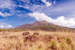 Batur volcano and Agung mountain panoramic view at sunrise from Kintamani. Bali, Indonesia Royalty Free Stock Images