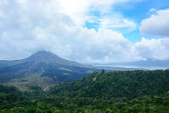 Batur volcano view from Kintamani, Bali, Indonesia Stock Photography