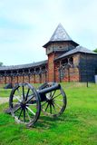 Baturyn Citadel with old cannon. Ancient Slavonic architecture of fortress. Baturyn Citadel the Cossack Hetmanate with ancient cannon. Ancient Slavonic Stock Image