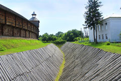 Baturyn Citadel with protective ditch. Ancient Slavonic architecture of fortress. Baturyn Citadel in the Cossack Hetmanate Baturyn Citadel with protective wooden Stock Images