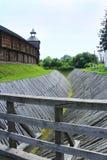 Baturyn-Zitadelle mit schützendem Abzugsgraben Alte slawische Architektur der Festung Stockbild