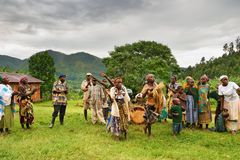 Batwa dwerg in Oeganda Stock Foto