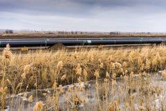 Bau adriatischer Rohrleitung Erdgasleitung Transportes - KLOPFEN Sie in keinem Stockbilder