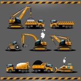 Bau-Auto-Vektor-Ikonen-Satz Stockfotografie