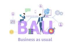 BAU, biznes jak zwykle Pojęcie stół z słowami kluczowymi, listami i ikonami, Barwiona płaska wektorowa ilustracja na bielu Obraz Stock