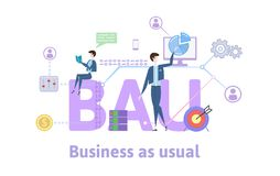 BAU, Business as usual. Concept table with keywords, letters and icons. Colored flat vector illustration on white vector illustration