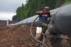 Bau der Rohrleitung Lizenzfreies Stockfoto