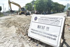 Bau der Semarang-Hafen-Eisenbahn Lizenzfreies Stockfoto
