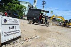 Bau der Semarang-Hafen-Eisenbahn Lizenzfreies Stockbild