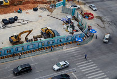 Bau der U-Bahnstation Stockbild