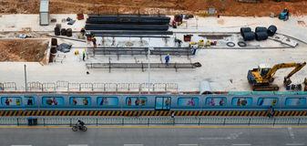 Bau der U-Bahnstation Stockfotos