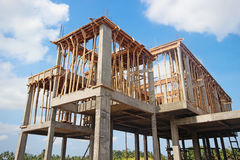 Bau der Wohnung in einem Vorort Stockbild