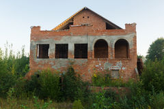 Bau des Backsteinhauses Lizenzfreie Stockbilder
