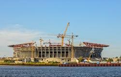 Bau des Fußballstadions Lizenzfreies Stockfoto
