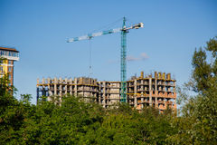 Bau des neuen Hauses oder des Gebäudes Stockbild