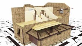 Bau des Wohnhauses, Animation 3d lizenzfreie abbildung
