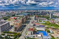 Bau des Wohnviertels in Tyumen Stockfoto