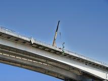 Bau einer Brücke über Don River Stockfotos