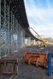 Bau einer Brücke Stockbild