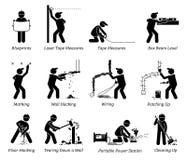 Bau, Erneuerung und Haus-Verbesserungs-Ikonen Lizenzfreies Stockbild