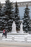 Bau für Kinder vom Schnee und vom Eis Stockfoto