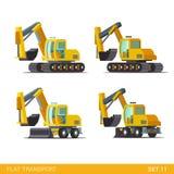 Bau gedreht aufgespürt: flache isometrische Fahrzeuge Lizenzfreie Stockfotos