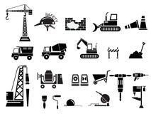 Bau-Ikonen-gesetzte Vektor-Illustration Stockfotografie