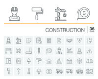 Bau, industrielle Vektorikonen stock abbildung